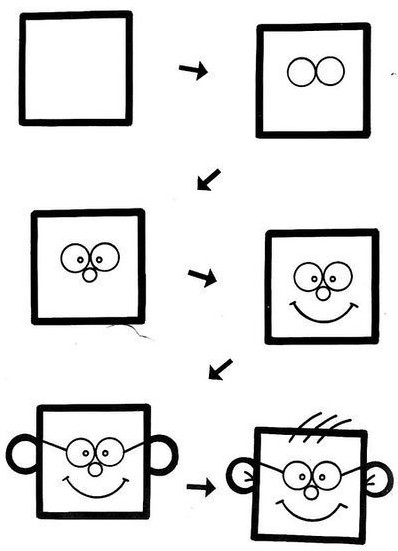 最新儿童简笔画,用正方形来勾勒简笔画创意