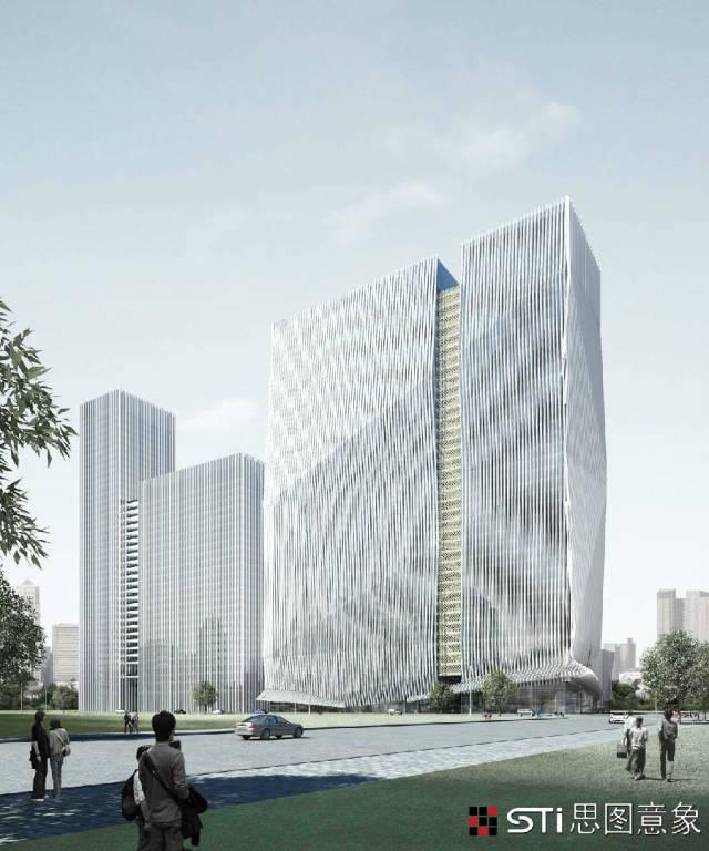 """杭州萧山世纪城港丽""""望京""""大厦改造设计"""" /> 本设计的重点是立面造型与幕墙设计,我们在一个非常局促的空间地块内,将原来建筑庞大呆板的大板式建筑形体通过建筑的三维空间进行拓展与延伸,将立面切割和分解,减小其原来庞大的板式单调立面形态,视觉感受得到完全改变。"""