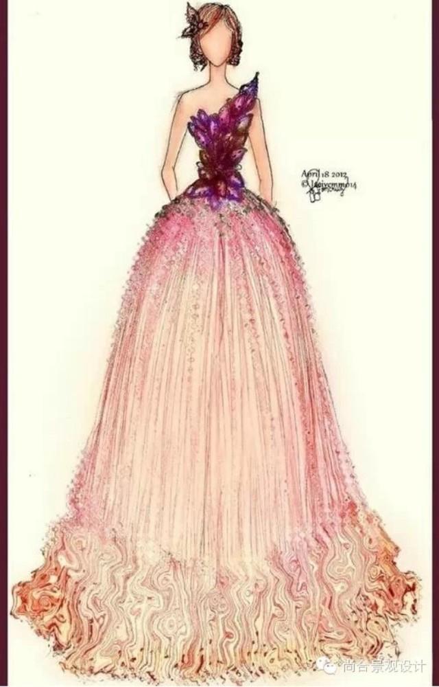手绘晚礼服,真的很漂亮.