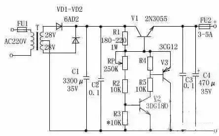 2,10a3~15v稳压可调电源电路图