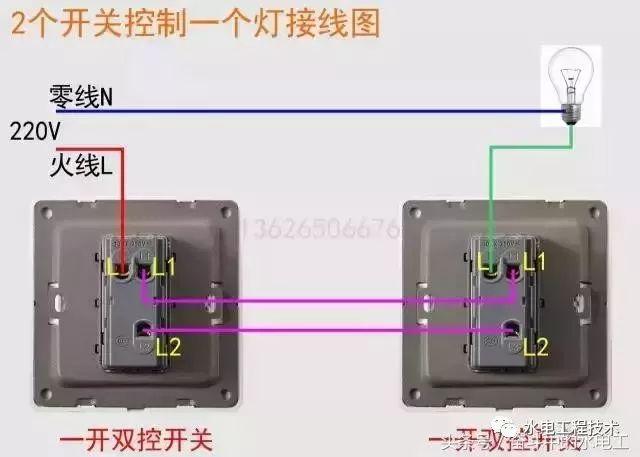 常用家庭装修开关接线图,包括多联多控开关