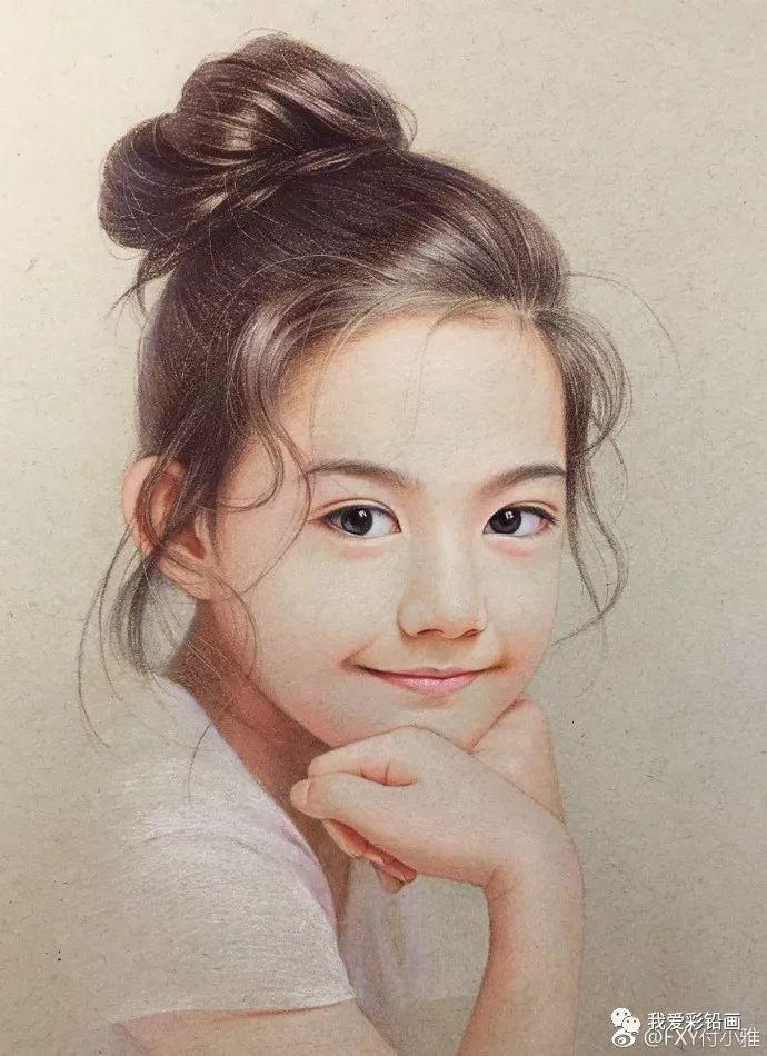 彩铅人物,手绘一个小美女