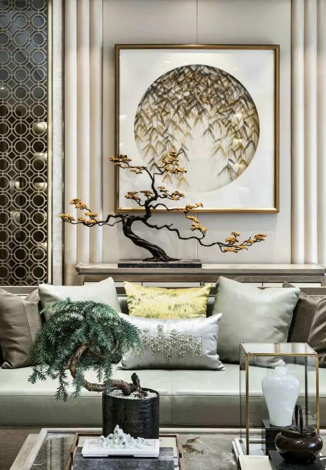 新中式沙发墙简直美醉了,还是新中式风格的设计比较好看!