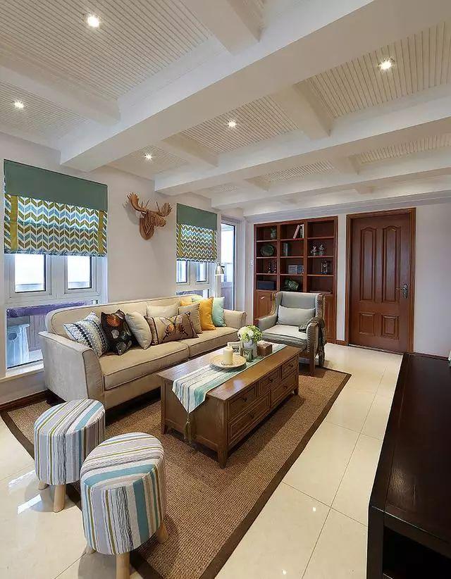 160�O美式复式楼装修案例,客厅吊顶很是精致迷人!