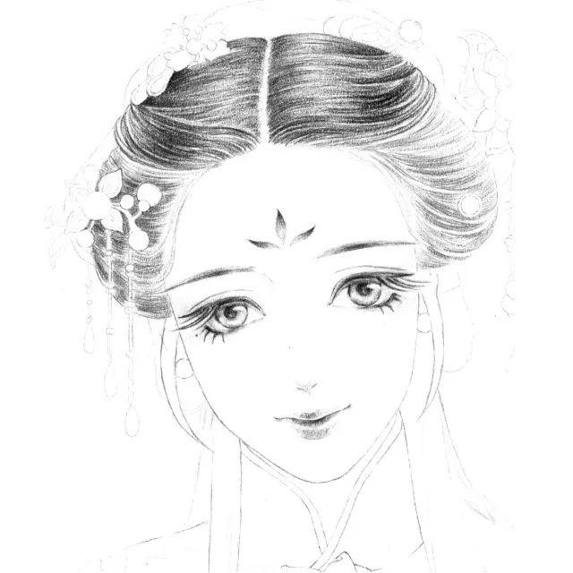 手绘古风|简单铅笔画出超细腻古风美女