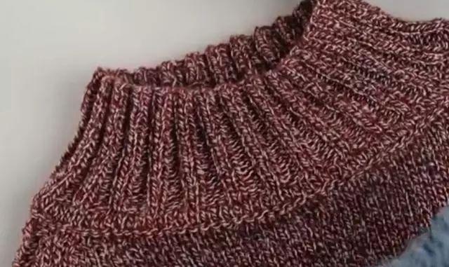 套头毛衣圆领编织技巧,有凹凸效果更漂亮