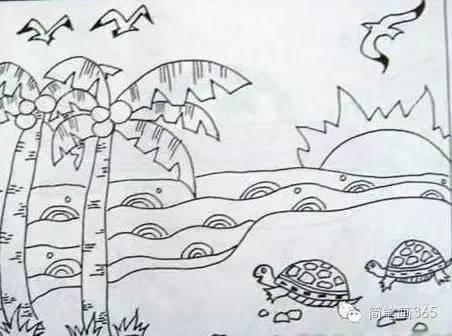 兒童風景簡筆畫 美麗的海邊