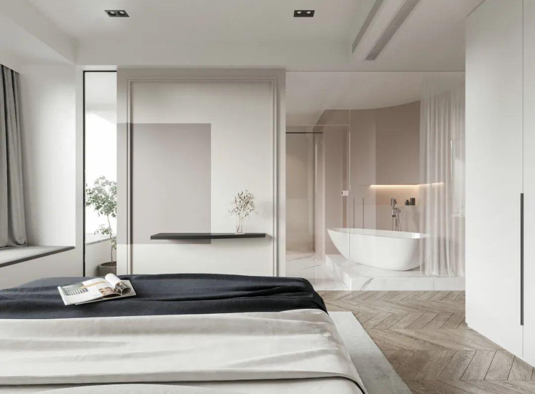 139㎡现代极简风,拼色设计提升了空间的优雅与浪漫气质,充满艺术与人文气息