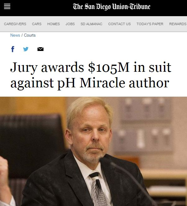 「酸碱体质理论」创始人当庭承认骗局,被罚 1亿美元